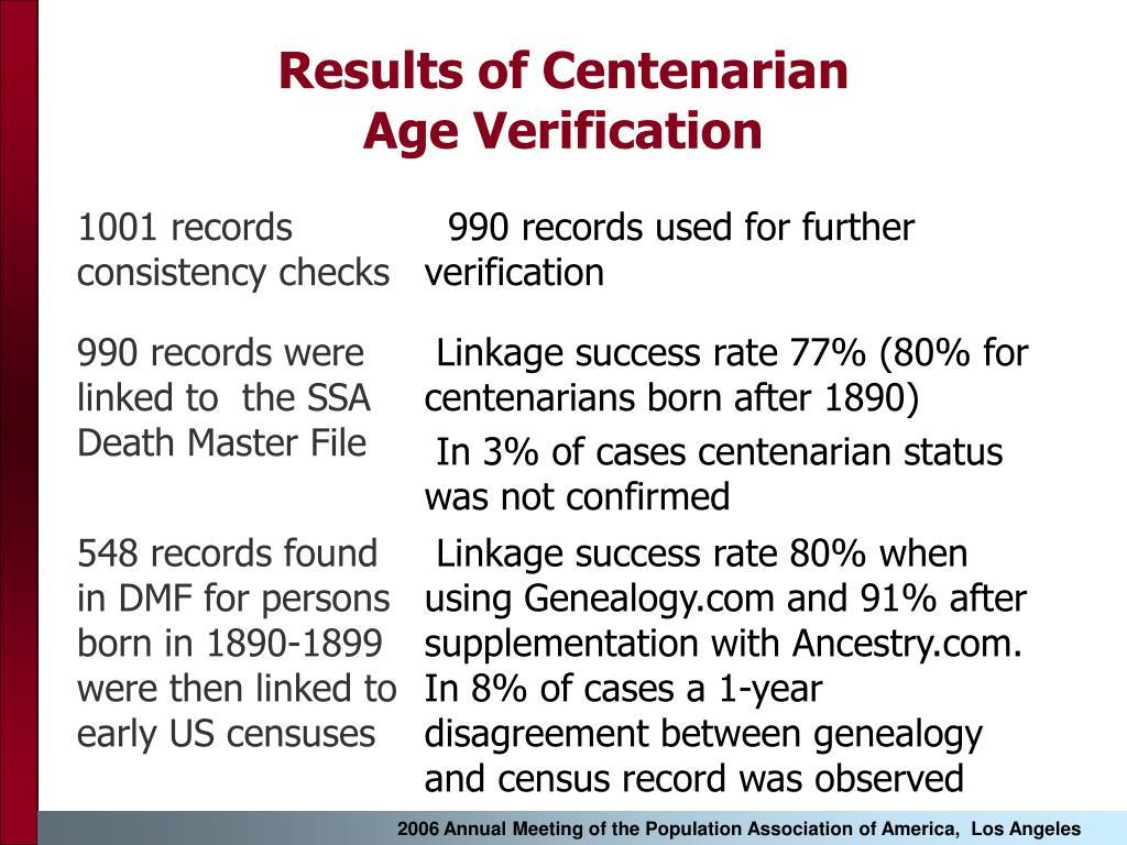 Results of Centenarian