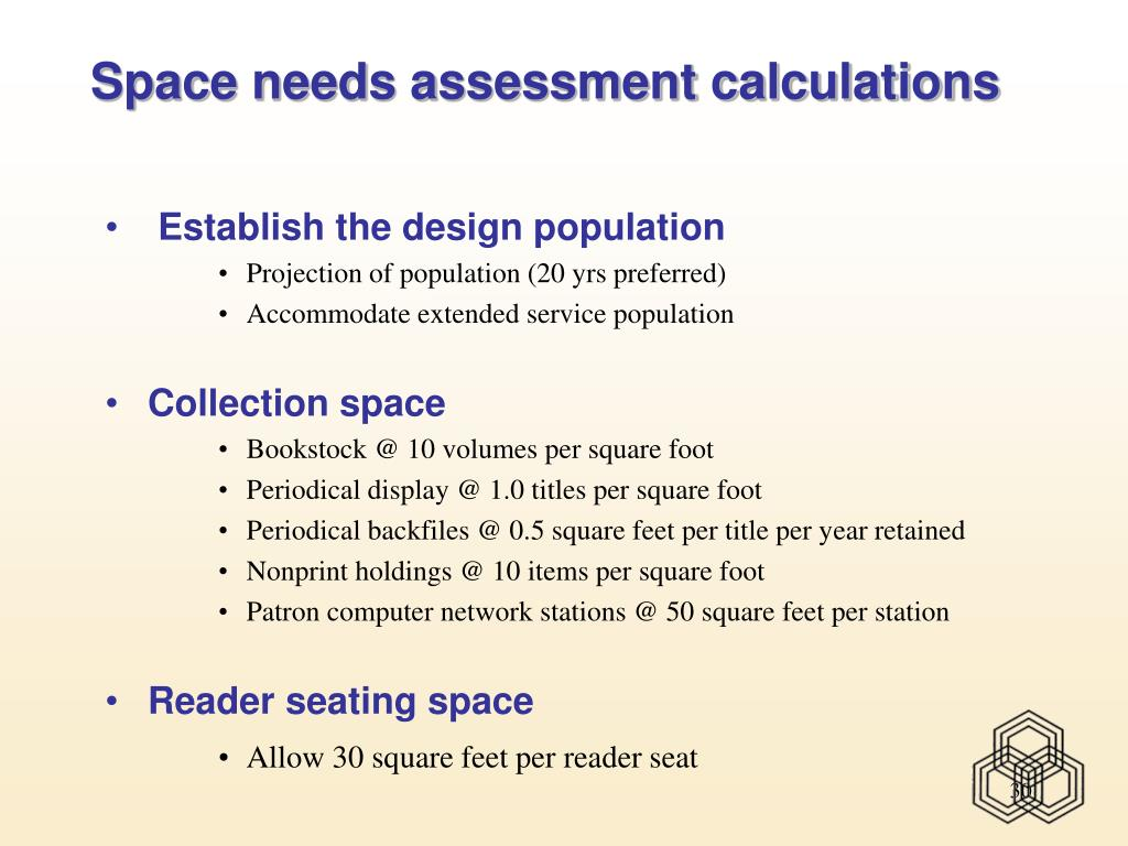 Space needs assessment calculations