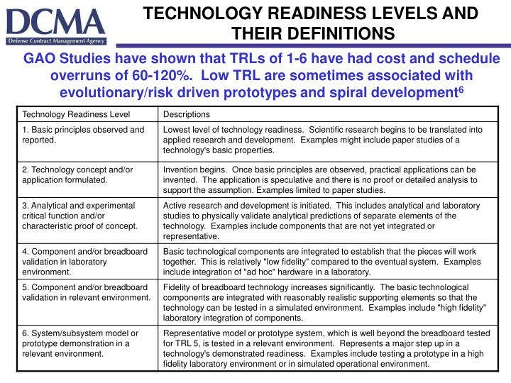 TECHNOLOGY READINESS LEVELS AND