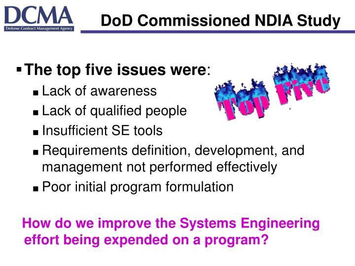 DoD Commissioned NDIA Study