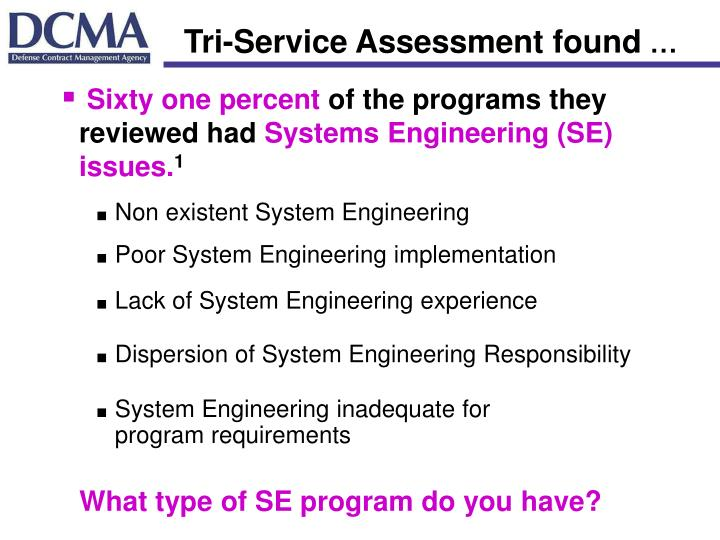 Tri-Service Assessment found