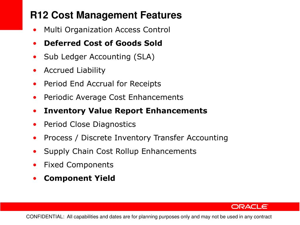 R12 Cost Management Features