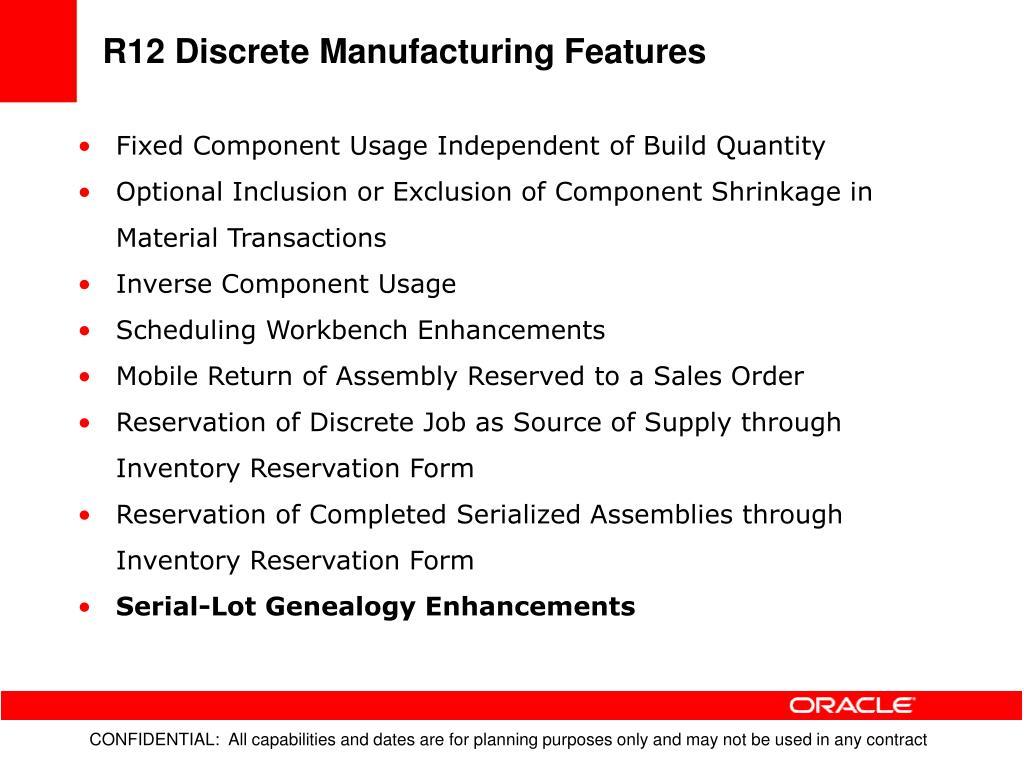 R12 Discrete Manufacturing Features