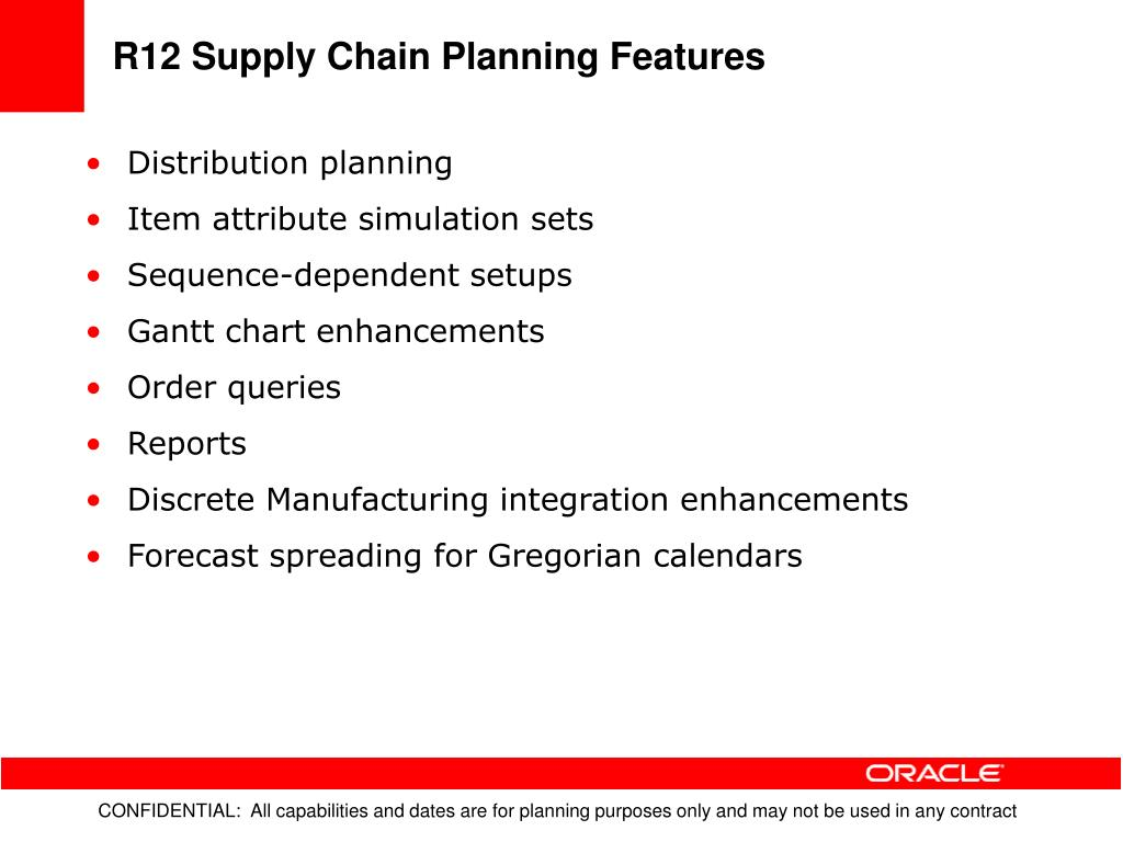 R12 Supply Chain Planning Features