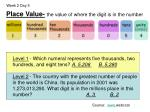 place value the value of where the digit is in the number4