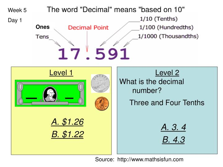"The word ""Decimal"" means ""based on 10"""