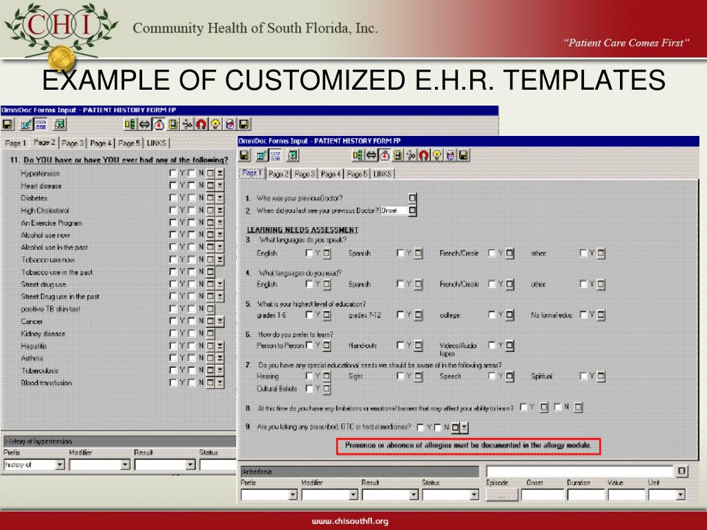 EXAMPLE OF CUSTOMIZED E.H.R. TEMPLATES