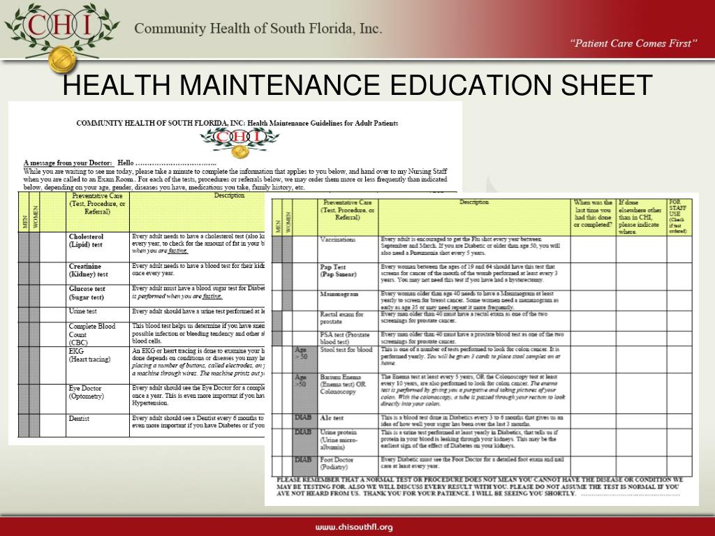 HEALTH MAINTENANCE EDUCATION SHEET