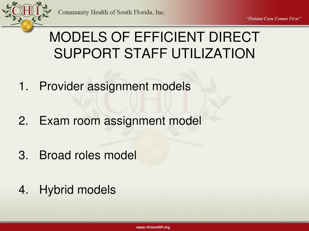 MODELS OF EFFICIENT DIRECT SUPPORT STAFF UTILIZATION