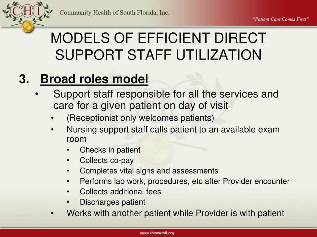 MODELS OF EFFICIENT DIRECT SUPPORT STAFF UTILIZATION