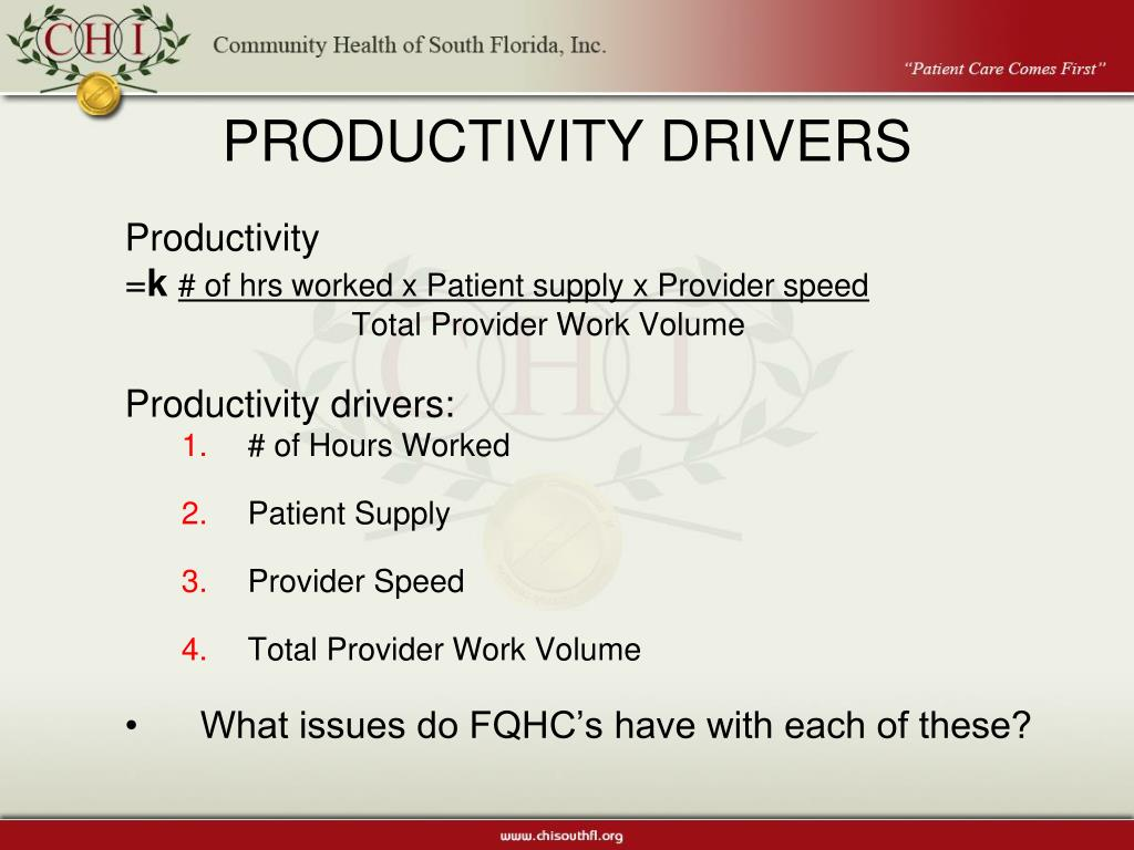 PRODUCTIVITY DRIVERS