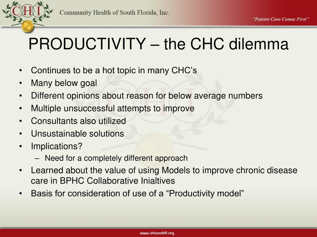 PRODUCTIVITY – the CHC dilemma