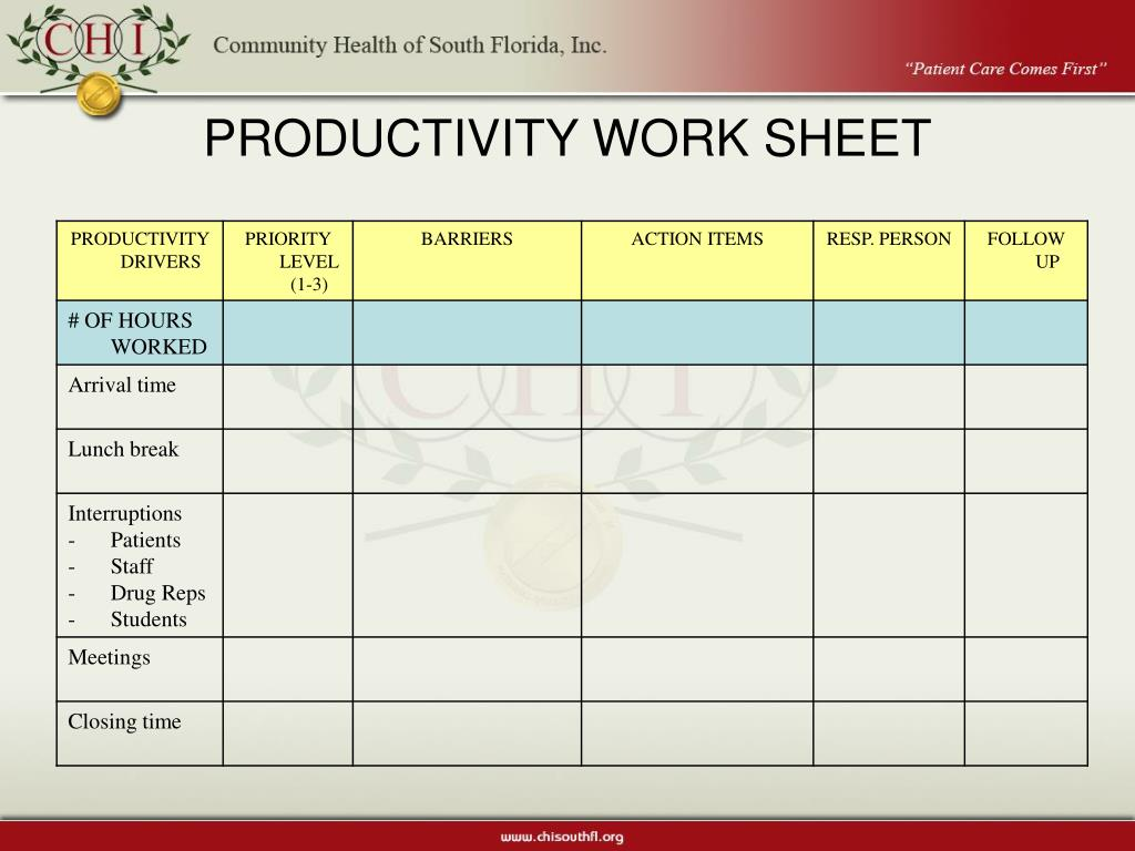 PRODUCTIVITY WORK SHEET