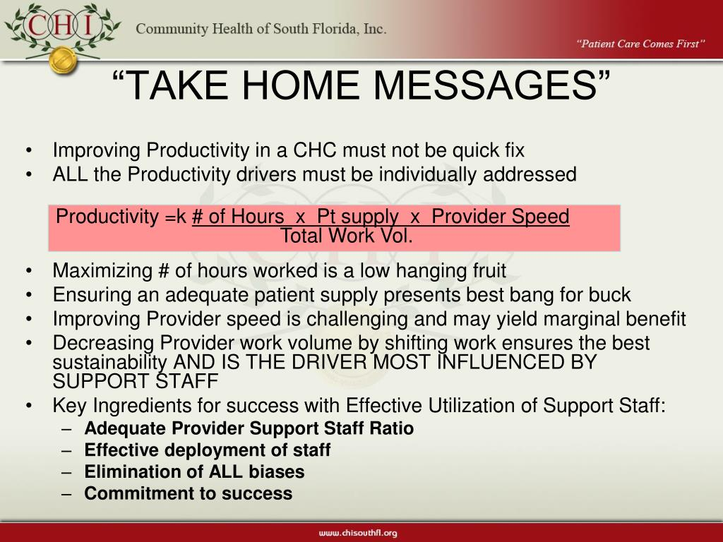 """TAKE HOME MESSAGES"""