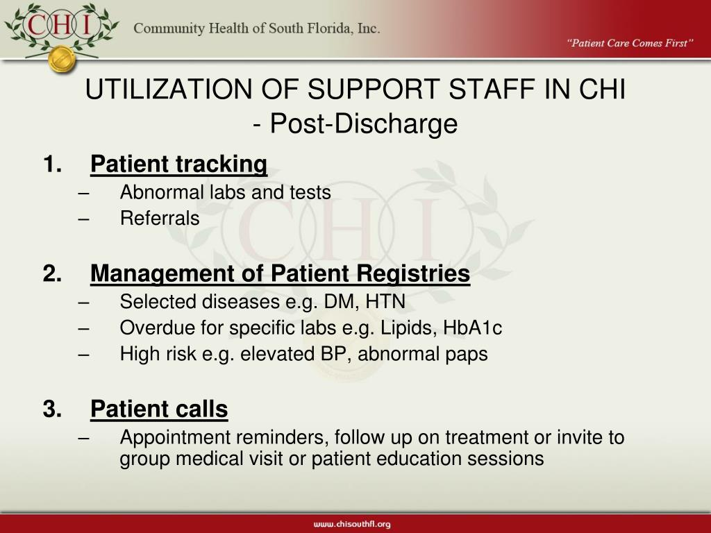 UTILIZATION OF SUPPORT STAFF IN CHI
