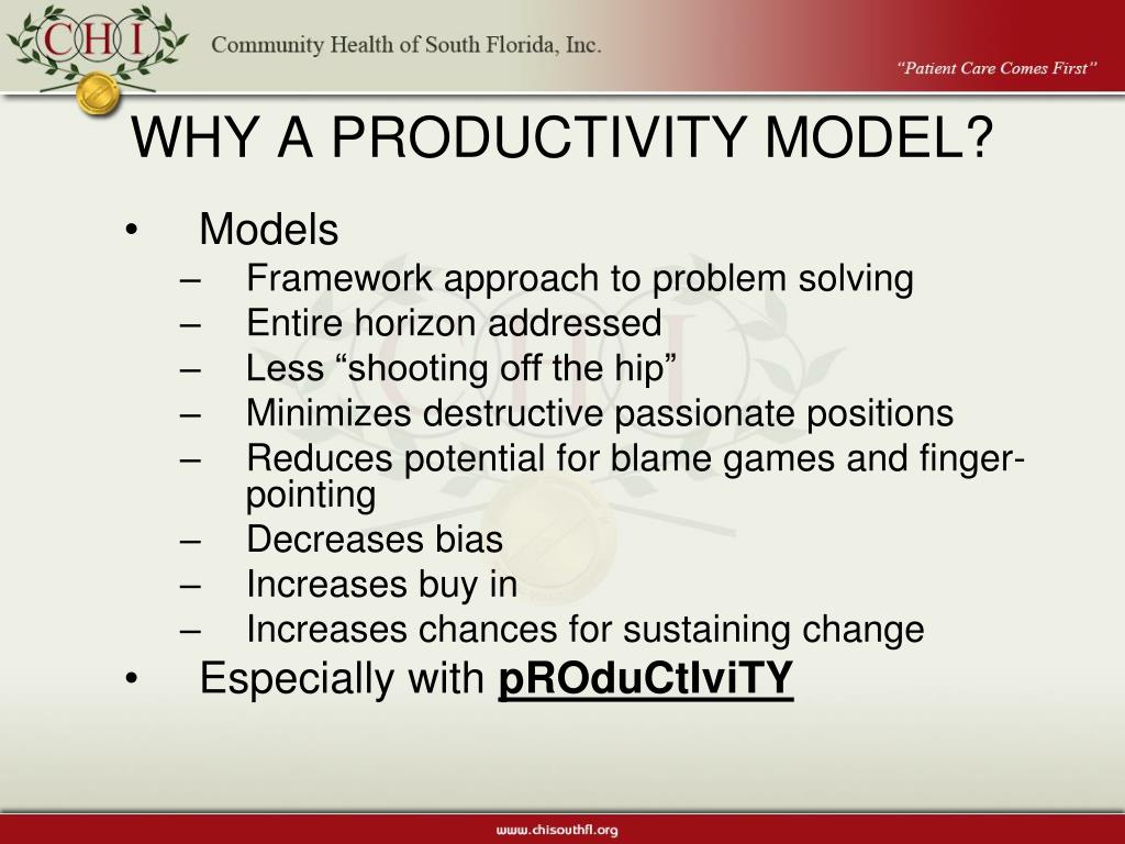 WHY A PRODUCTIVITY MODEL?
