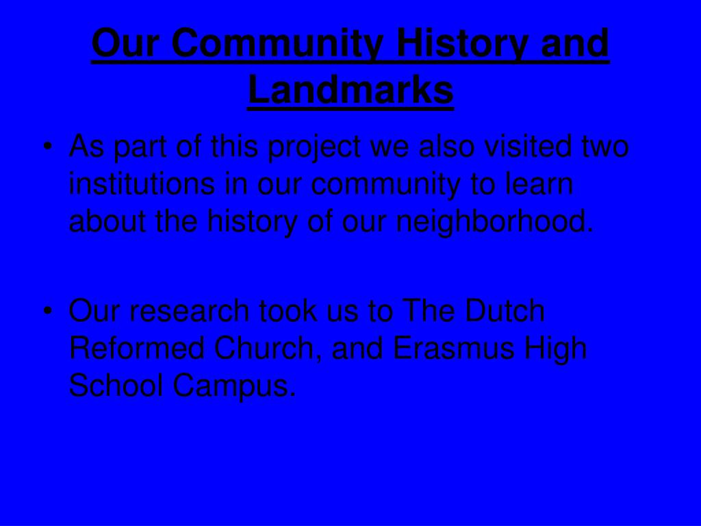 Our Community History and Landmarks