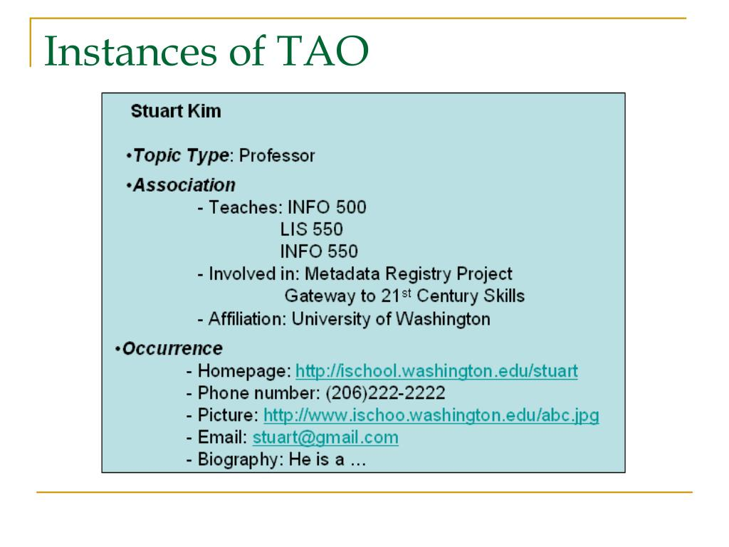 Instances of TAO