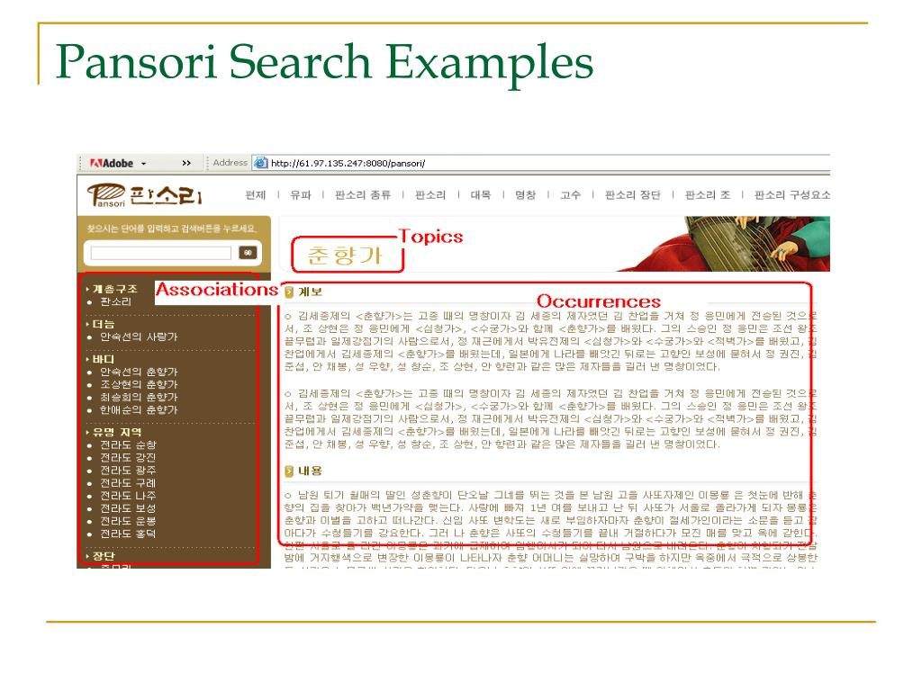 Pansori Search Examples