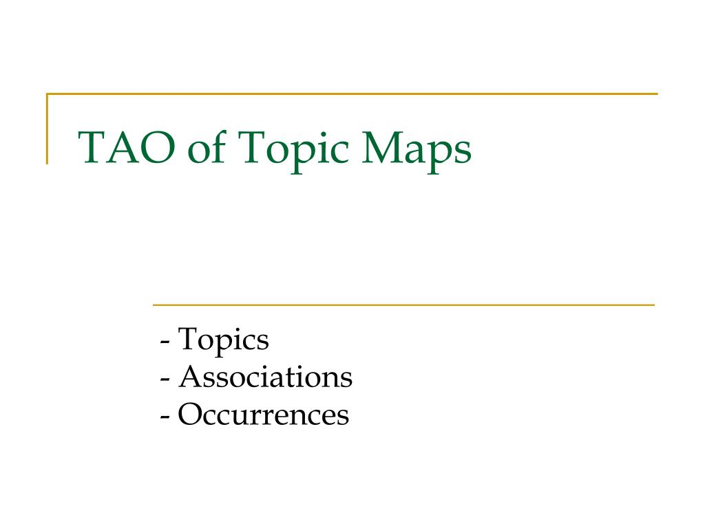 TAO of Topic Maps