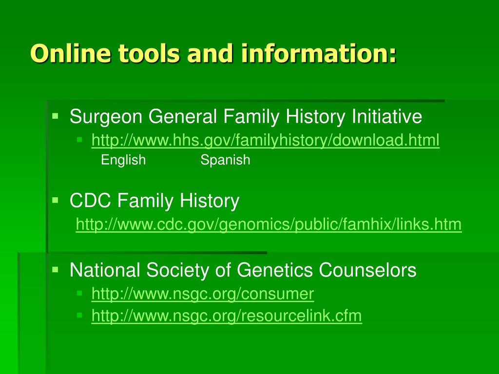 Online tools and information: