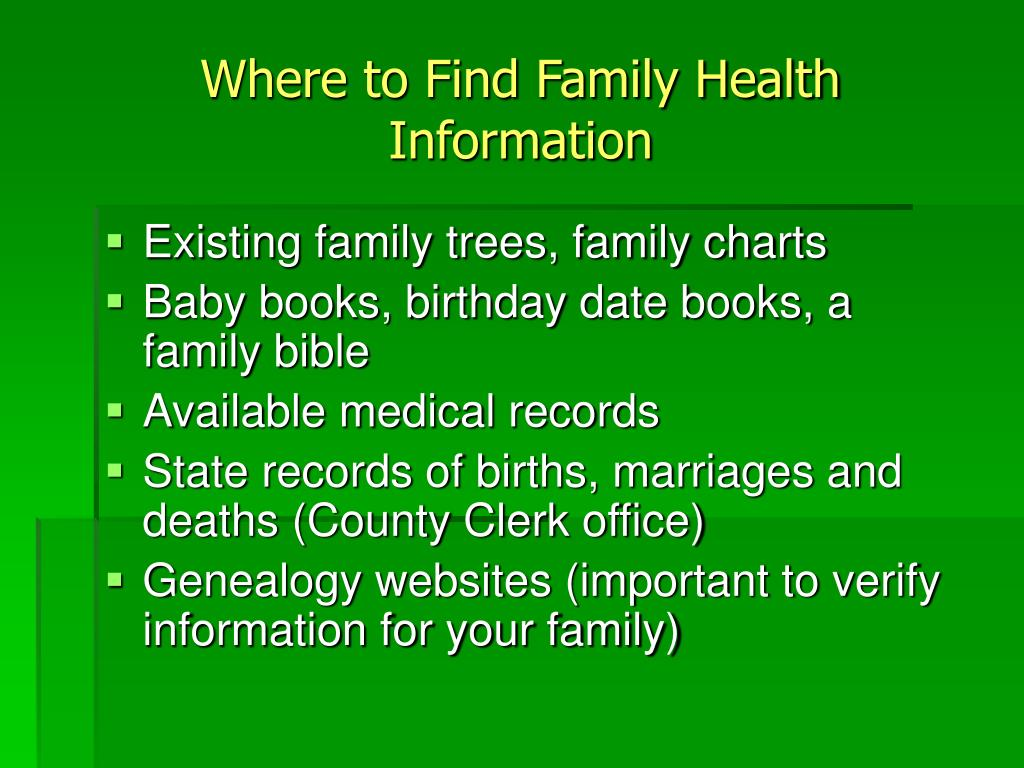 Where to Find Family Health Information