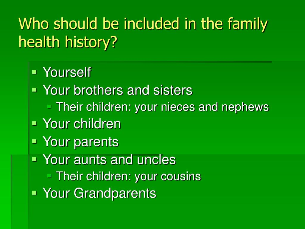 Who should be included in the family health history?