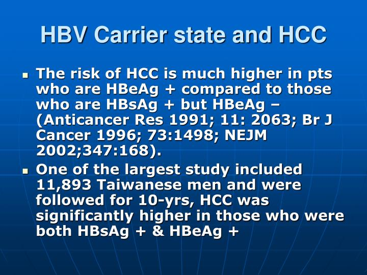 HBV Carrier state and HCC