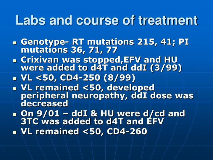 Labs and course of treatment