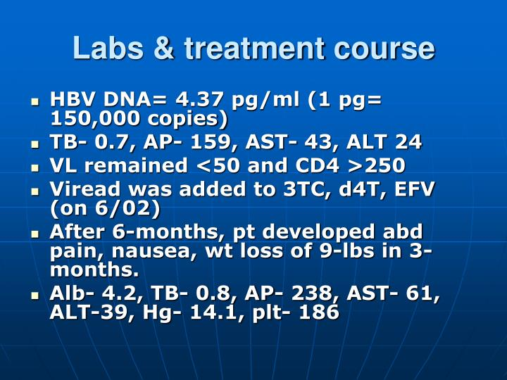Labs & treatment course