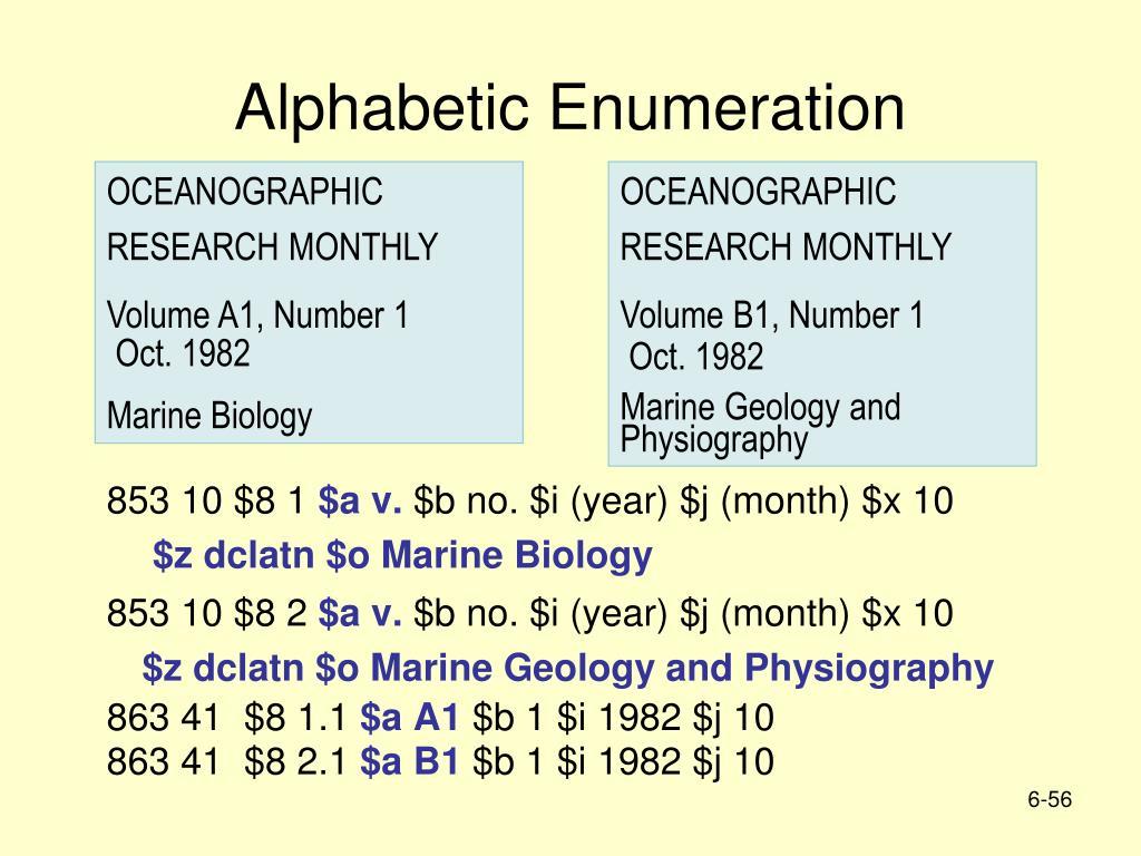 Alphabetic Enumeration