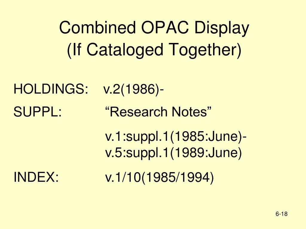 Combined OPAC Display
