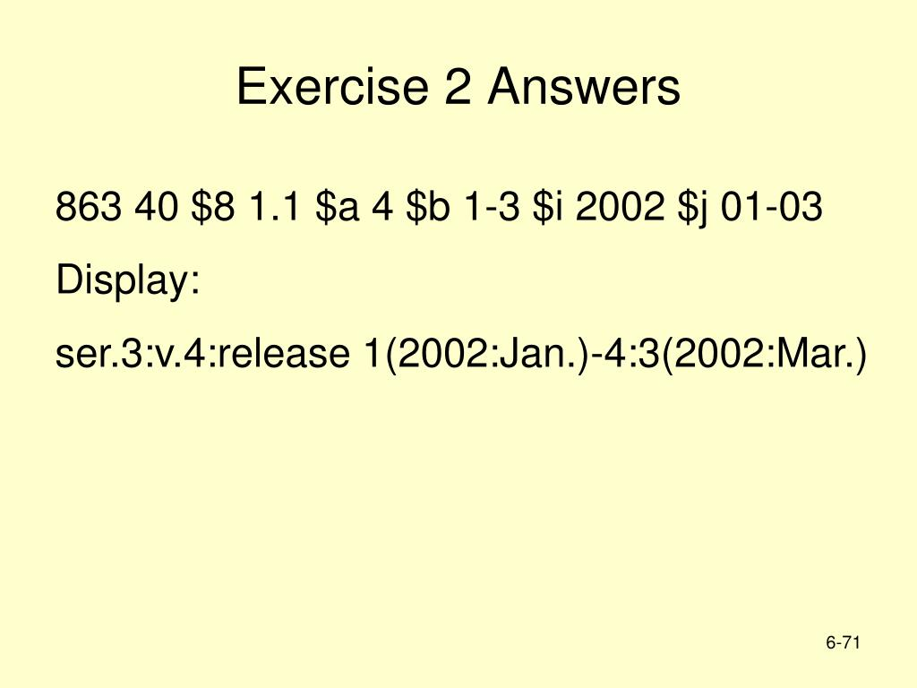 Exercise 2 Answers