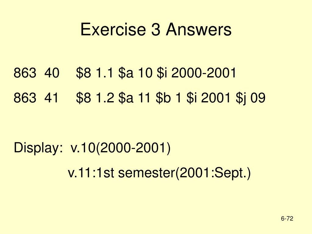 Exercise 3 Answers