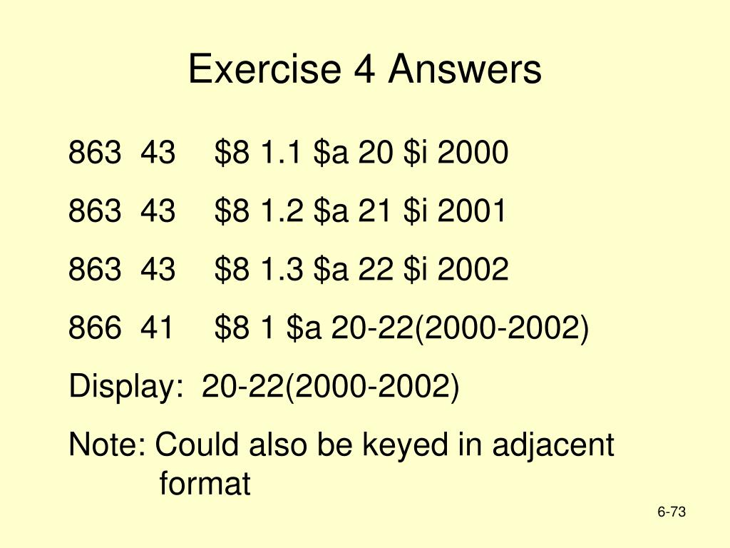 Exercise 4 Answers