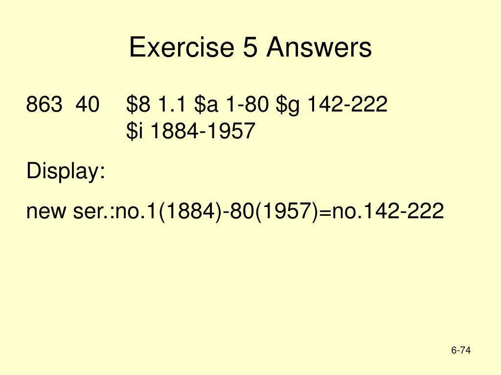Exercise 5 Answers