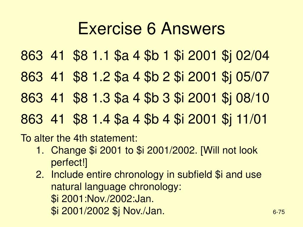 Exercise 6 Answers
