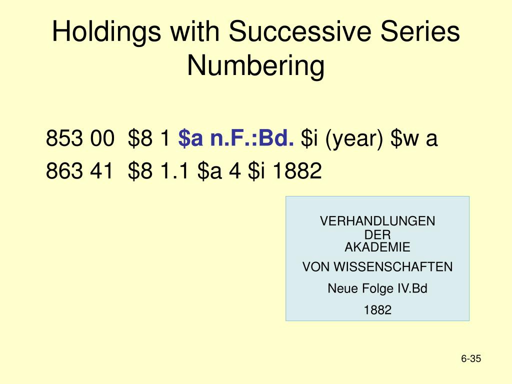 Holdings with Successive Series Numbering
