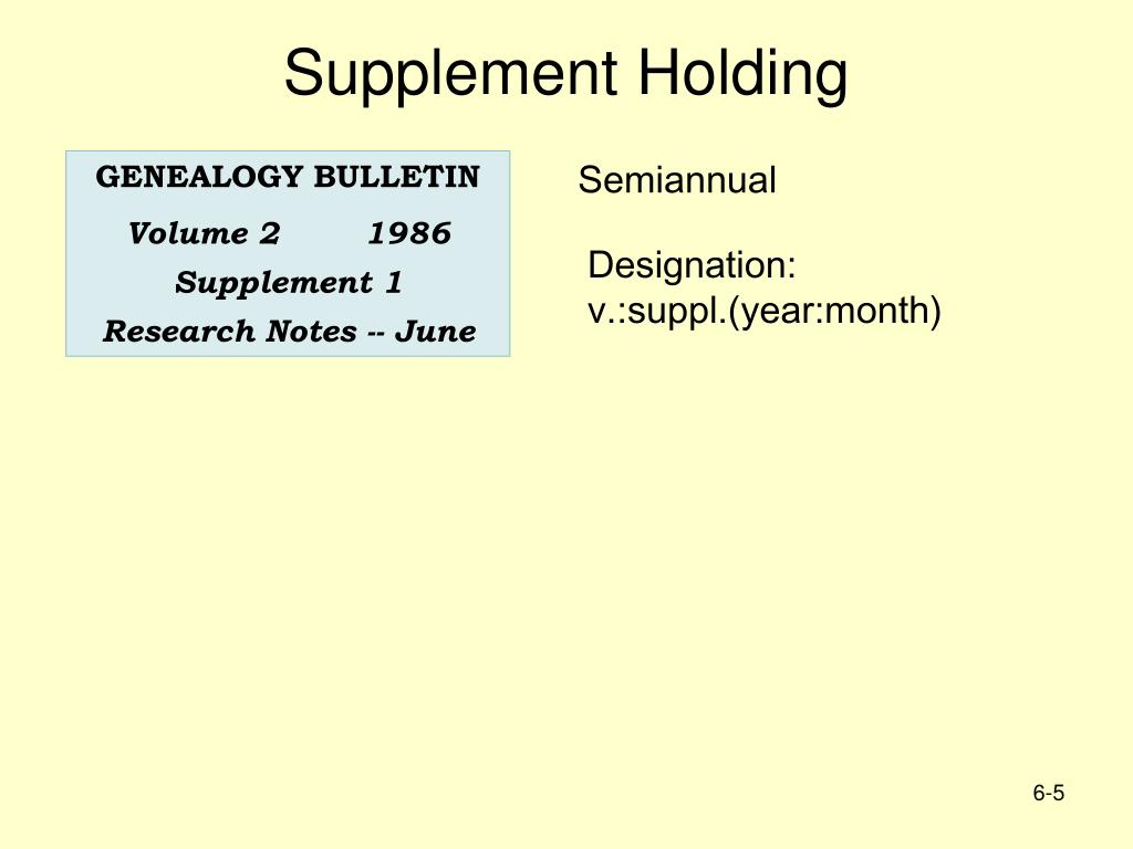 Supplement Holding