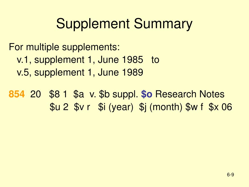Supplement Summary
