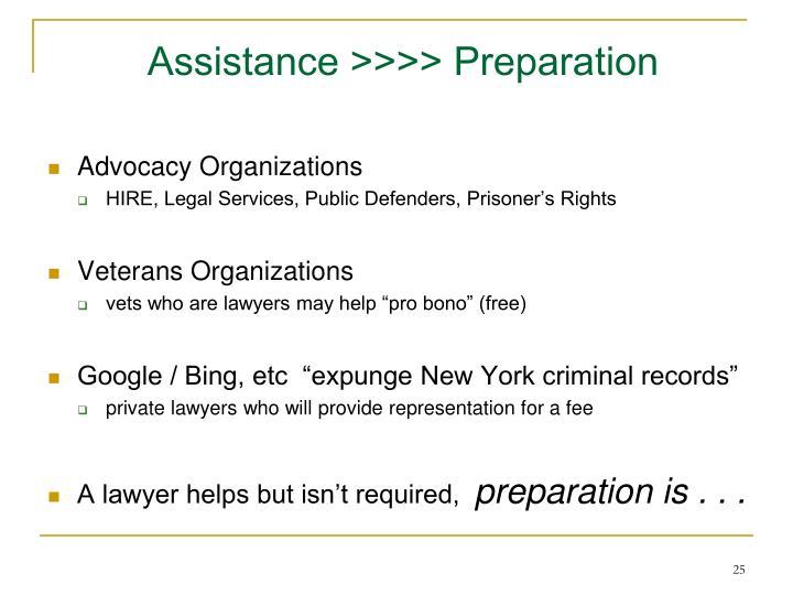 Assistance >>>> Preparation