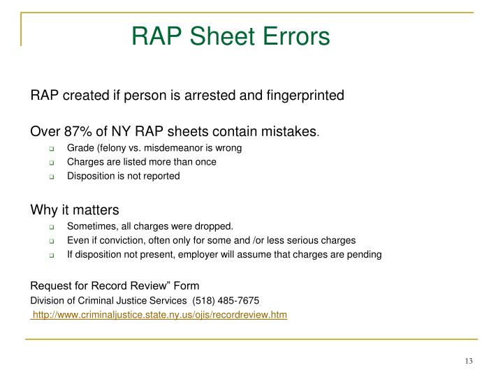 RAP Sheet Errors