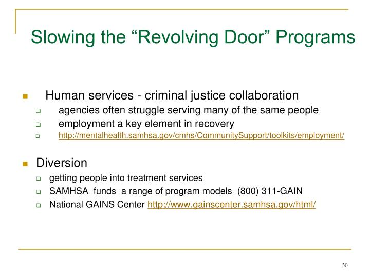 "Slowing the ""Revolving Door"" Programs"