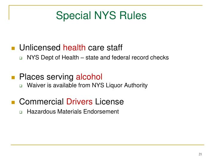Special NYS Rules