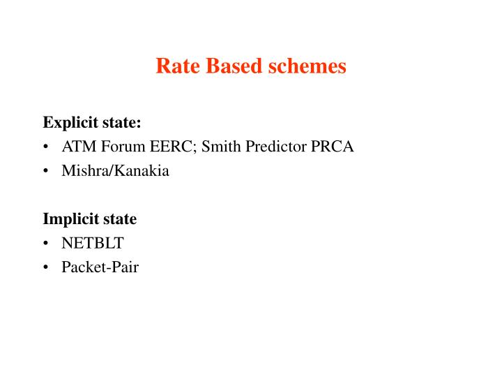 Rate Based schemes