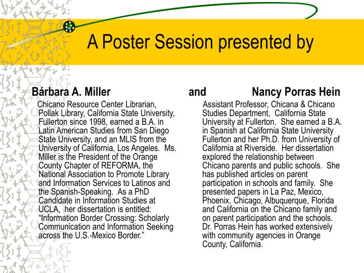A poster session presented by l.jpg