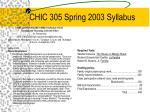 chic 305 spring 2003 syllabus