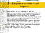 development of the family history assignment