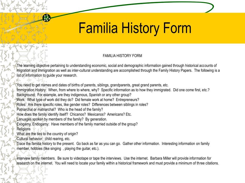 Familia History Form