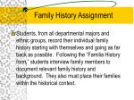 family history assignment